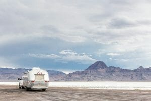 Airstream camper at Bonneville Salt Flats