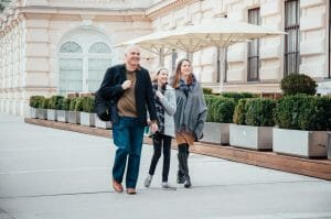Tamara Gruber and family walking on street in Vienna