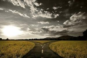 Roads diverging crossroads