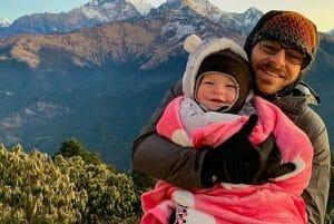 Seth ShySki holding daughter in mountains