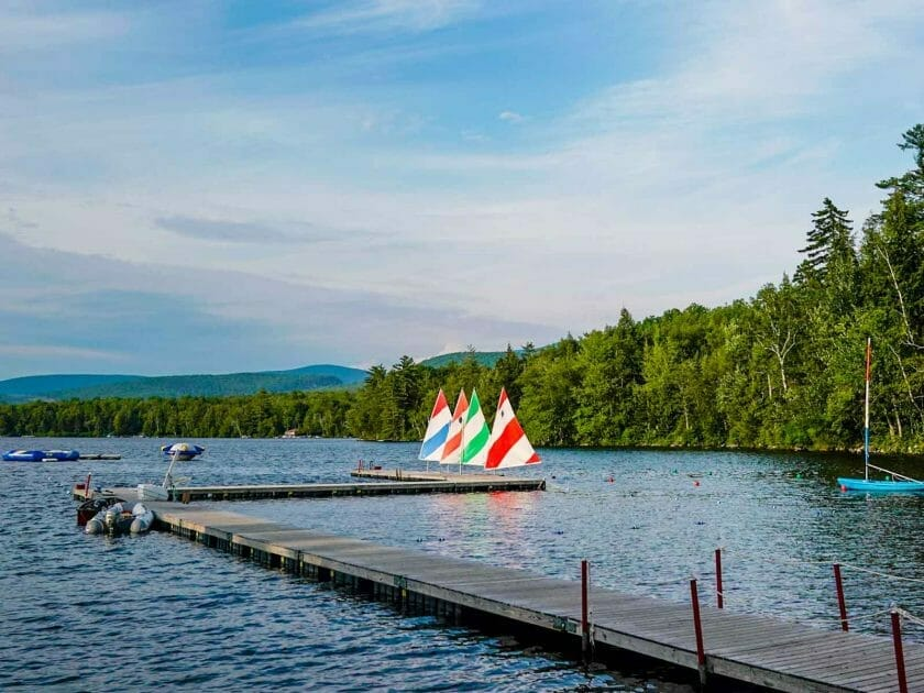 Camp Walt Whitman sailboats on lake