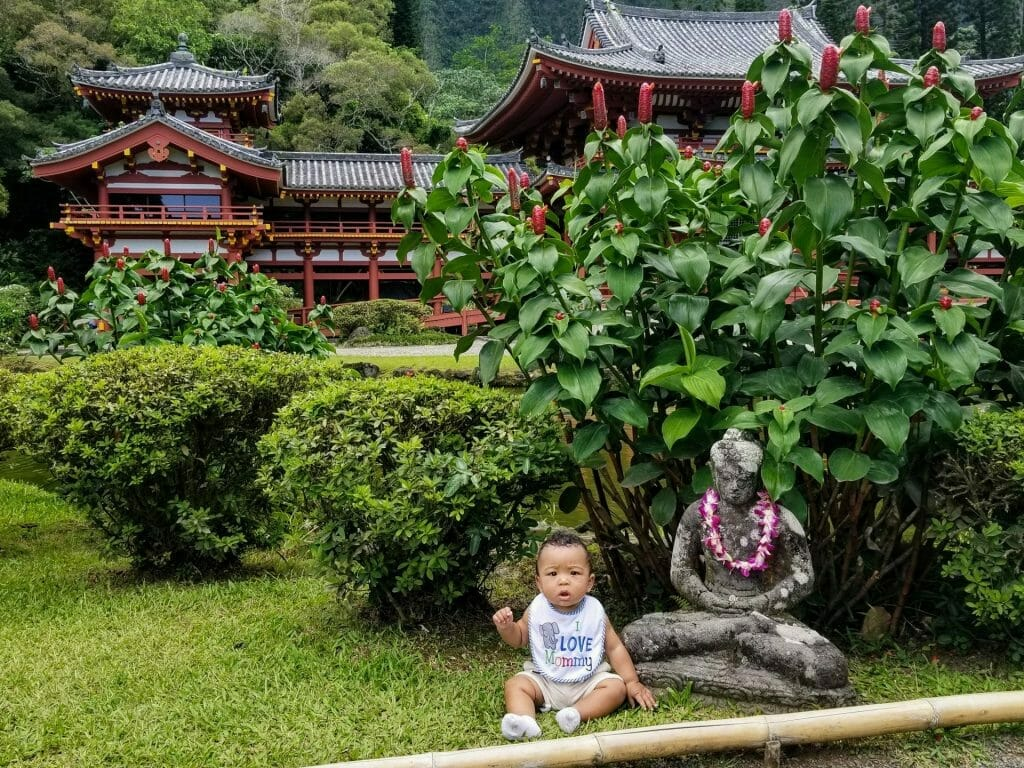 Corritta Lewis' infant son at the Byodo-In Temple in Oahu, Hawaii.
