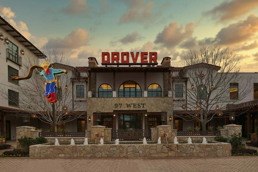 The exterior of the Drover Hotel Fort Worth.