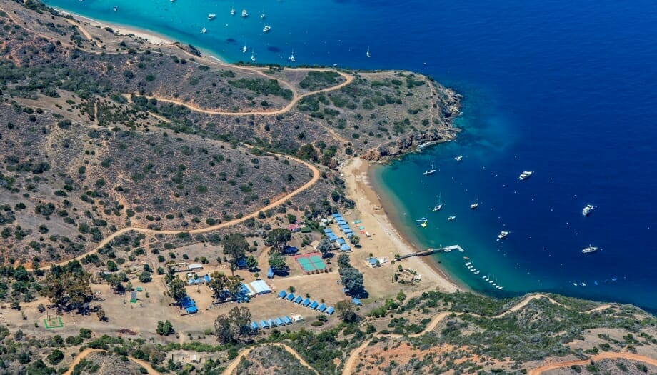 Aerial shot of camp on Catalina Island