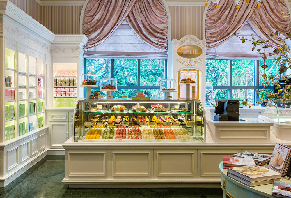 Case of colorful pastries at the Grand America Hotel
