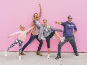 Makepeace family travel blog pink background