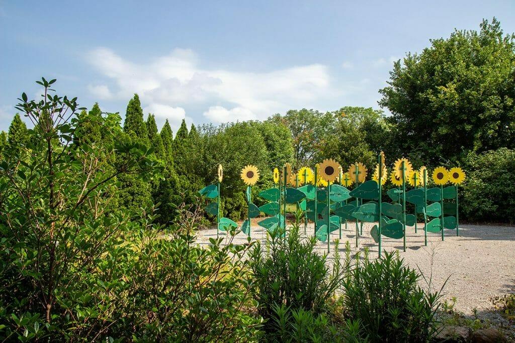 Walk through a giant sunflower maze. Credit: Huntsville Botanical Garden
