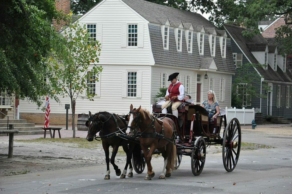 horse drawn carriage in Colonial Williamsburg