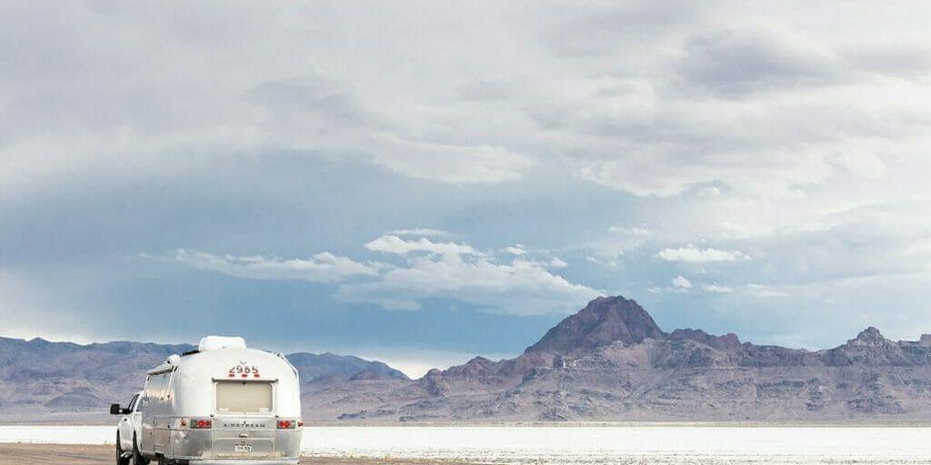 Airstream camper at Bonneville Salt Flats