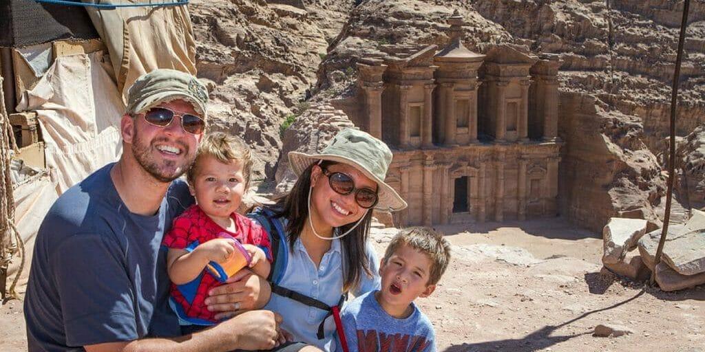 Wagar familt in Petra, Jordan