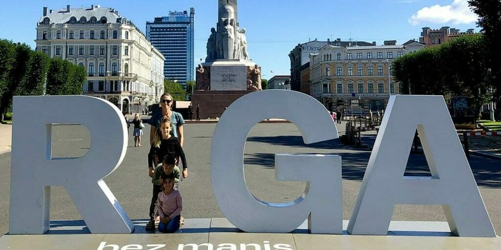 Laura Georgieff and her family in Riga, Latvia.