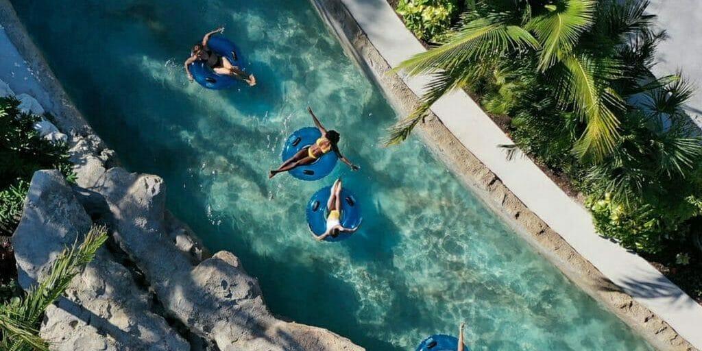 Overhead shot of tubing at Baha Bar water park