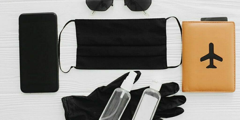 Covid travel accessories-mask sanitizer gloves passport